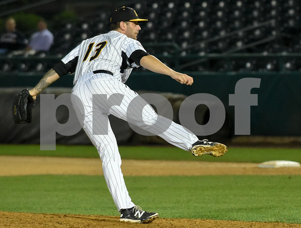 072417 Wesley Bunnell | Staff The New Britain Bees lost 2-1 to the Lancaster Barnstormers on Monday evening. Nate Roe (13).