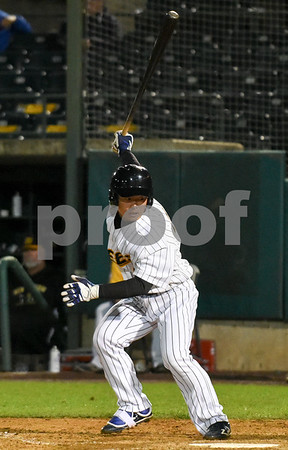 072417 Wesley Bunnell | Staff The New Britain Bees lost 2-1 to the Lancaster Barnstormers on Monday evening. Tsuyoshi Fujiwara (9) looks back to see if the catcher caught the ball after striking out.