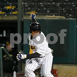 072417  Wesley Bunnell | Staff  The New Britain Bees lost 2-1 to the Lancaster Barnstormers on Monday evening. Tsuyoshi Fujiwara (9) looks back to see if the catcher caught the ball after st ...