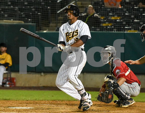 072417 Wesley Bunnell | Staff The New Britain Bees lost 2-1 to the Lancaster Barnstormers on Monday evening. Jordan Hinshaw (19) would reach base on an error.