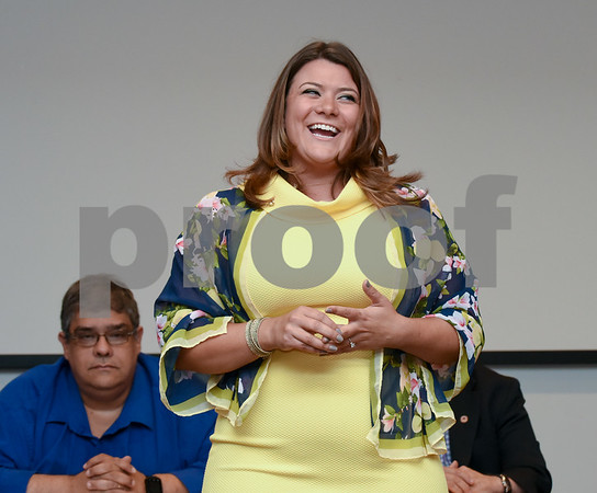 072417 Wesley Bunnell | Staff The Republican Town Committee endorsed its slate of candidates for Novembers municipal elections on Monday night. Mayor Erin Stewart speaks just after being officially endorsed.
