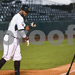 072417  Wesley Bunnell | Staff  The New Britain Bees lost 2-1 to the Lancaster Barnstormers on Monday evening. Jovan Rosa (35) slams his bat down after striking out to end the game.