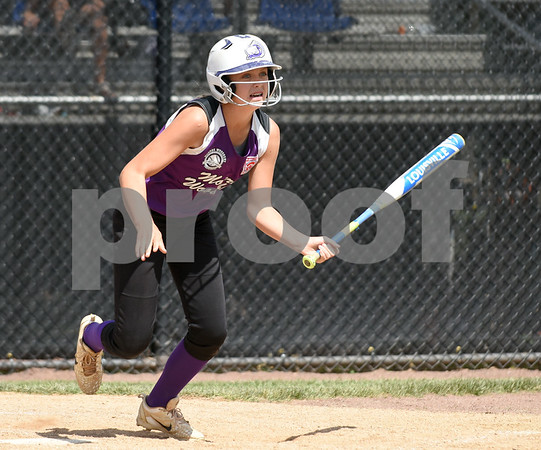 072617 Wesley Bunnell | Staff New York defeated Pennsylvania in a 2017 Little League Softball Eastern Regional Tournament game on Wednesday afternoon. Kelsey O'Brien (1) with the game winning sac fly for New York.