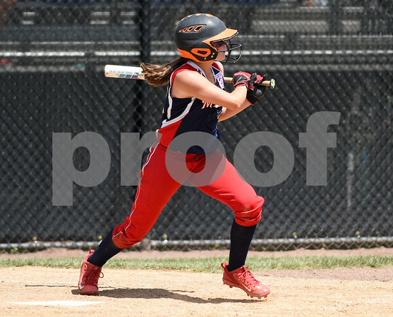 072617 Wesley Bunnell | Staff New York defeated Pennsylvania in a 2017 Little League Softball Eastern Regional Tournament game on Wednesday afternoon. Pennsylvania's Caitlyn Martell (13).