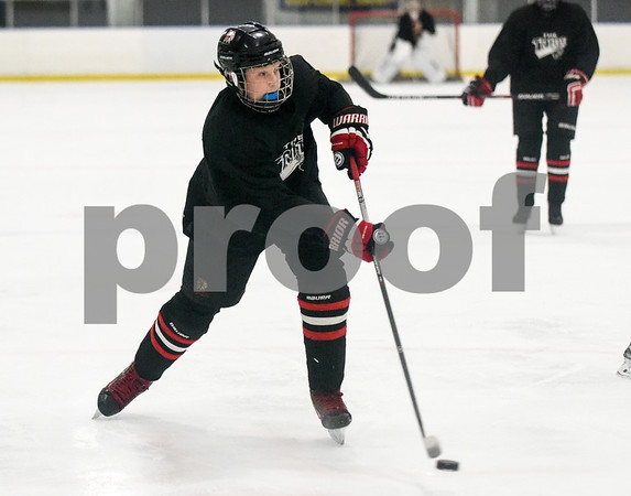 072717 Wesley Bunnell   Staff The Newington Tribe vs the New Haven Warriors in a Nutmeg Games hockey game on Thursday evening in Newington. Owen Johnson (4) scores a goal to put Newington up 2-0 in the second period.