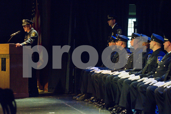 072717 Wesley Bunnell | Staff The 13th Training Session of the Regional Satellite Basic Recruit Academy graduated on Thursday afternoon at Trinity-on-Main in New Britain. New Britain Police Chief James Wardwell, L, address the audience.