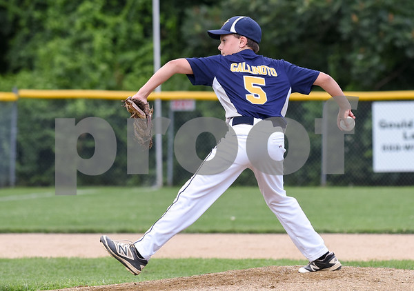 072817 Wesley Bunnell | Staff Newington vs Ellington in a Little League state finals game played at Adams Middle School in Guilford. Pitcher J.T. Galinoto (5).