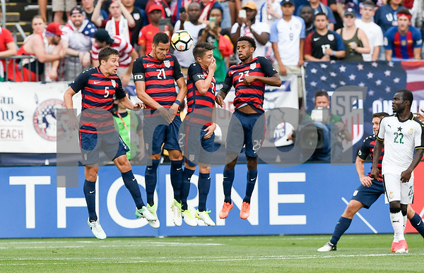 070117 Wesley Bunnell | Staff The United States mens' national team defeated Ghana in an international friendly 2-1 on Saturday afternoon at Rentschler Field. USA D Matt Besler (5), USA D Matt Hedges (21), USA D Jorge Villafana (2) and USA M Kellyn Acosta (23).