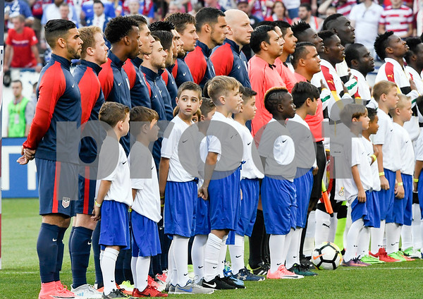 070117 Wesley Bunnell | Staff The United States mens' national team defeated Ghana in an international friendly 2-1 on Saturday afternoon at Rentschler Field. Teams line up before the start of the match.