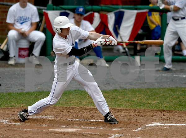 7/1/2017 Mike Orazzi | Staff Bristol Blues' Nick Roy (17) drives in a run Saturday night at Muzzy Field.