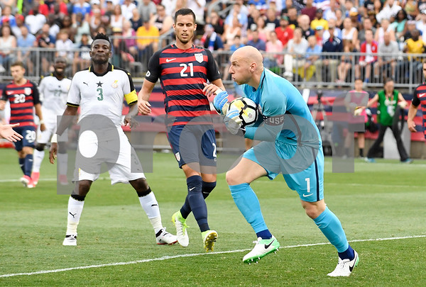 070117 Wesley Bunnell | Staff The United States mens' national team defeated Ghana in an international friendly 2-1 on Saturday afternoon at Rentschler Field. USA GK Brad Guzan (1) and USA D Matt Hedges (21).
