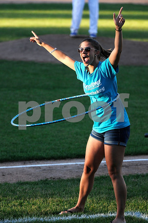 6/20/2017 Mike Orazzi | Staff Siena Stickney after winning the Hula Hoop competition during Tuesday night's Bristol Blues baseball game at Muzzy Field.