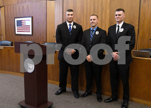 7/12/2017 Mike Orazzi | Staff Bristol's newest police recruits, Zach Rodriguez, Chris Bordner,and Travis Martin.