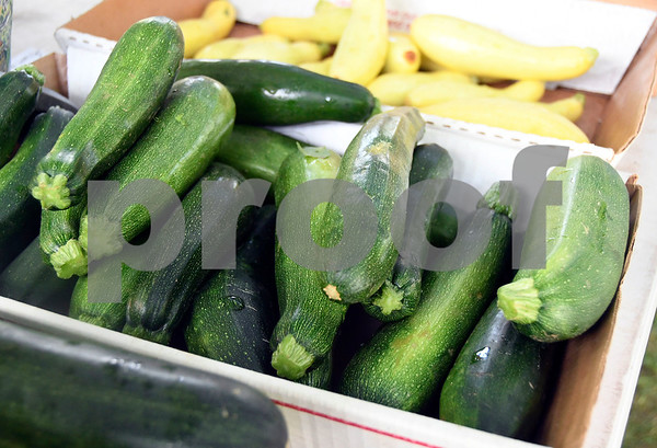7/1/2017 Mike Orazzi | Staff Zucchini and yellow squash for sale during the Farmer's Market held at New Britain Youth Museum At Hungerford Park Saturday morning.