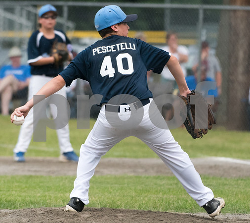 071217 Wesley Bunnell | Staff The Little League age 10-11 District 5 Championship game was played at Trumbull Park in Plainville featuring Southington North vs Wallingford. Starting pitcher Kyle Pescetelli (40).