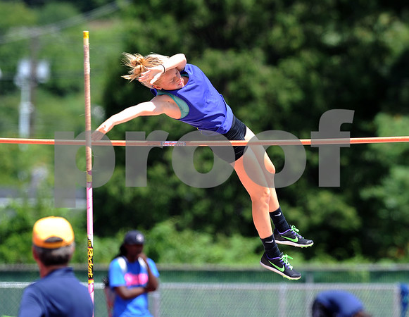 7/15/2017 Mike Orazzi | Staff Avery Bauman during the pole vault at the Nutmeg Games held in Willow Brook Park in New Britain Saturday.