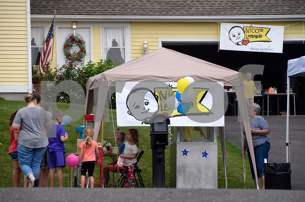 7/15/2017 Mike Orazzi | Staff Nicos Lemonade Stand fundraiser on Northwest Drive in Plainville Saturday.
