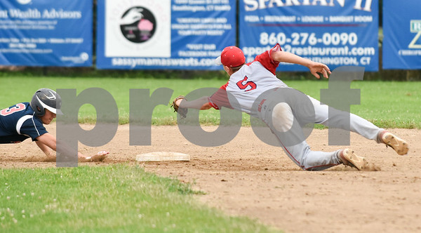 070617 Wesley Bunnell | Staff Southington vs Bristol in American Legion Baseball on Thursday evening at Southington High School. Noah Plantamuro (5) leaps towards second base attempting a force on Jake Babon (3).