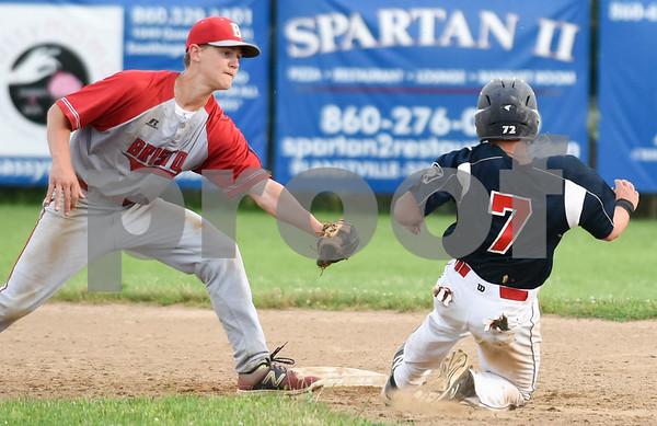 070617 Wesley Bunnell   Staff Southington vs Bristol in American Legion Baseball on Thursday evening at Southington High School. Noah Plantamuro (5) applies the tag to Josh Panarella (7) on a stolen base attempt.