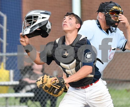 070617 Wesley Bunnell | Staff Southington vs Bristol in American Legion Baseball on Thursday evening at Southington High School. Josh Panarella (7)