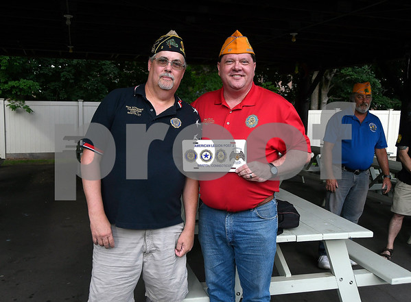 7/6/2017 Mike Orazzi | Staff American Legion Post 2 Commander Rick Schreiner presents Jeff Frain, Sons of The American Legion National Commander, with a license plate during his visit to Bristol Thursday evening.