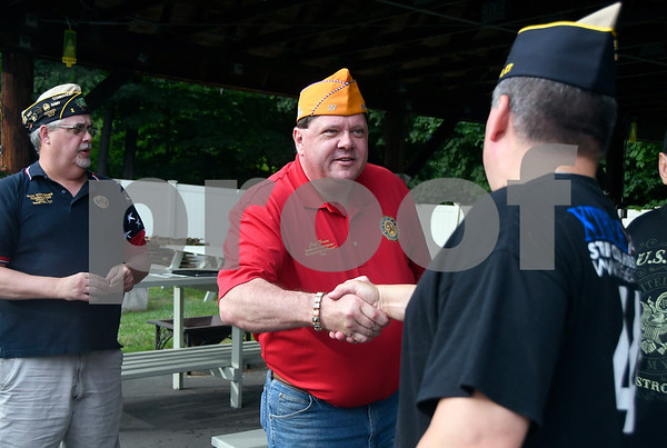7/6/2017 Mike Orazzi | Staff Jeff Frain, Sons of The American Legion National Commander, meets with American Legion members during a visit to Bristol Thursday evening.