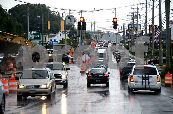 6/27/2017 Mike Orazzi | Staff Traffic in the construction zone on Route 6 in Bristol Tuesday afternoon.