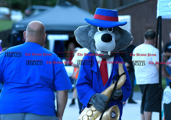 6/1/2017 Mike Orazzi | Staff Bristol Blues mascot BB on opening night at Muzzy Field Thursday.