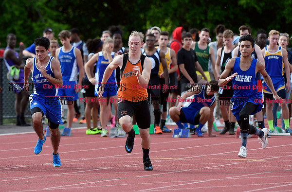 6/1/2017 Mike Orazzi | Staff Terryville's Michael West during the Class S Outdoor track meet in New Britain Thursday at Willow Brook Park.