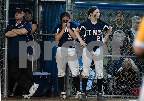 6/9/2017 Mike Orazzi   Staff St. Paul Catholic's Lindsey O'Bright (32) and Brigid Johndrow (2) during a loss to Holy Cross during the Class S Final held at West Haven High School Friday night.