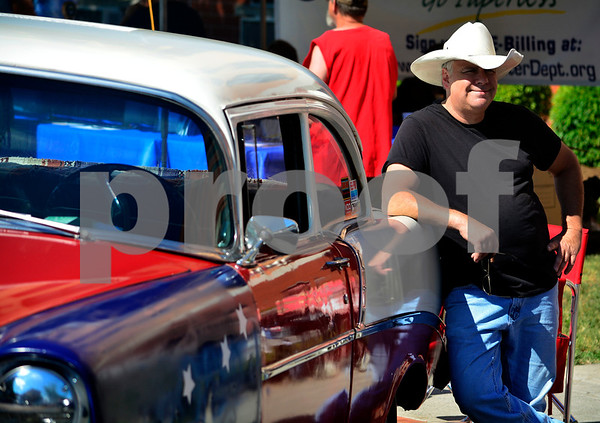 6/18/2016 Mike Orazzi | Staff James Copland stands next to his 1956 Chevy during the 7th Annual Bill Englert Memorial Auto Show in Bristol on North Main Street sponsored by TEAM Bristol.