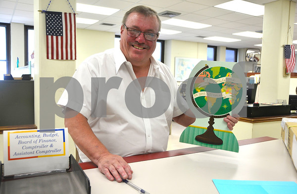 6/13/2017 Mike Orazzi | Staff Glenn Klocko during his last week as comptroller for the city of Bristol.