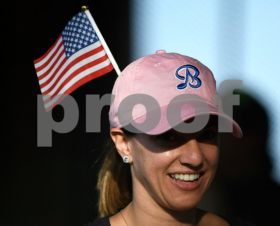 6/14/2017 Mike Orazzi | Staff Bristol Blues' fan Marlo McQuiggan on Flag Day while at Wednesday night's baseball game with the Bravehearts at Muzzy Field.