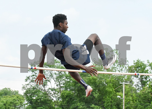 061317 Wesley Bunnell | Staff The CIAC Decathlon, Heptathlon, Hammer Throw & Steeplechase Championships took place Monday & Tuesday at Veteran's Stadium in New Britain. Carlum Caldwell competes for Newington in the boys high jump.