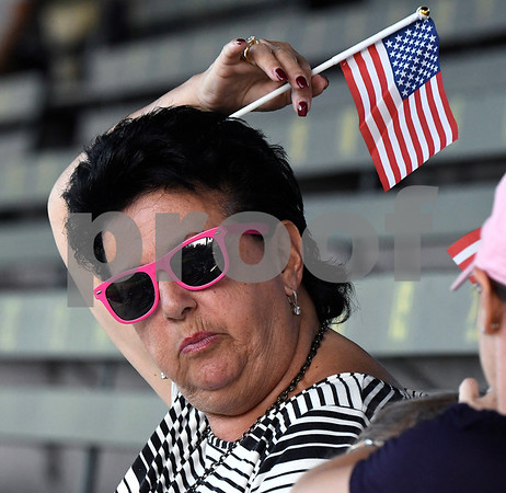 6/14/2017 Mike Orazzi | Staff Bristol Blues' fan Darlene Hovhanessian on Flag Day while at Wednesday night's baseball game with the Bravehearts at Muzzy Field.