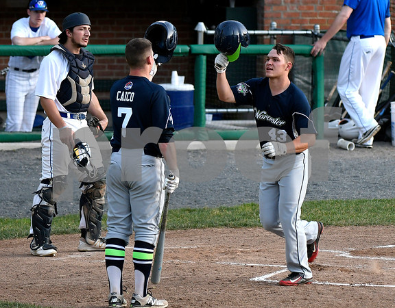 6/14/2017 Mike Orazzi | Staff The Bravehearts' Greg Kocinski (43) after his home run Wednesday night at Muzzy Field.