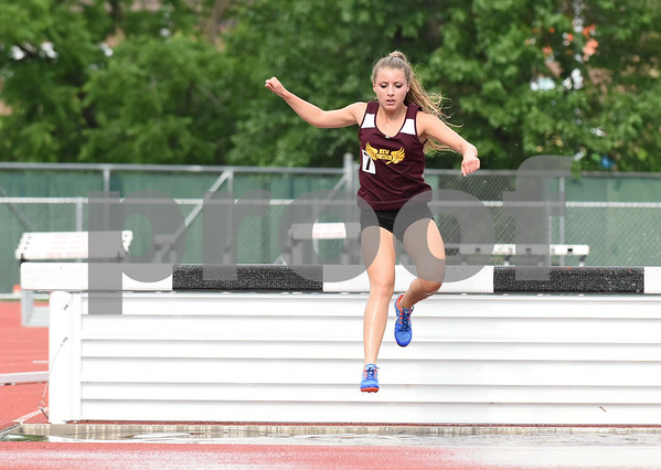 061317 Wesley Bunnell | Staff The CIAC Decathlon, Heptathlon, Hammer Throw & Steeplechase Championships took place Monday & Tuesday at Veteran's Stadium in New Britain. Shaelyn Pacheco took third place in the girls 2000 meter steeplechase.