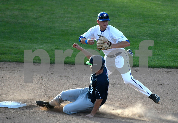 6/14/2017 Mike Orazzi | Staff Bristol Blues' Jake Frasca (27) tags out the Bravehearts' John Friday (3) at second base Wednesday night at Muzzy Field.
