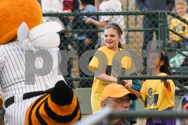 050217 Wesley Bunnell | Staff The New Britain Bees vs Somerset Patriots on Tuesday evening. Members of the Main Street Choir wait for Sting .