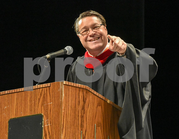 062017 Wesley Bunnell | Staff Newington High School held their 2017 commencement at the Oakdale Theatre on Tuesday evening. Retiring Principal Jim Wenker gave an emotional and often funny speech to the Class of 2017.