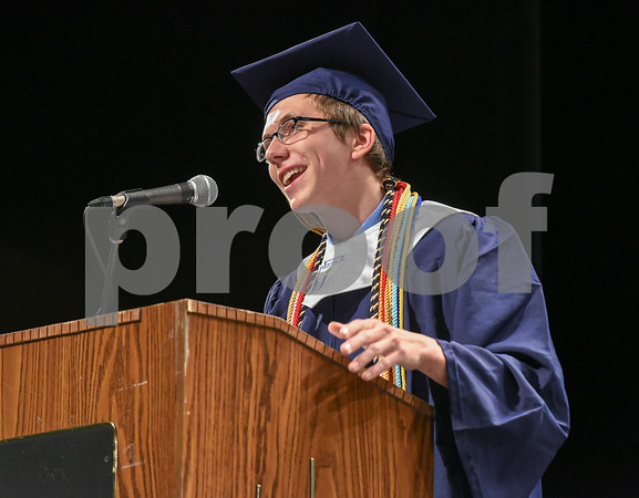 062017 Wesley Bunnell | Staff Newington High School held their 2017 commencement at the Oakdale Theatre on Tuesday evening. Class President Jeremy Rippel.