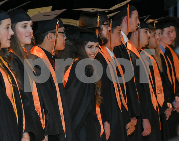 062117 Wesley Bunnell | Staff Terryville High School held their Class of 2017 Commencement on Wednesday evening. Graduates line the stage at the start of the ceremony.