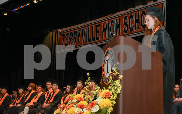 062117 Wesley Bunnell | Staff Terryville High School held their Class of 2017 Commencement on Wednesday evening. Class Salutatorian Alayna Garuti.
