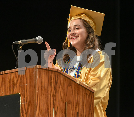 062017 Wesley Bunnell | Staff Newington High School held their 2017 commencement at the Oakdale Theatre on Tuesday evening. Class Valedictorian Teodora Markova.