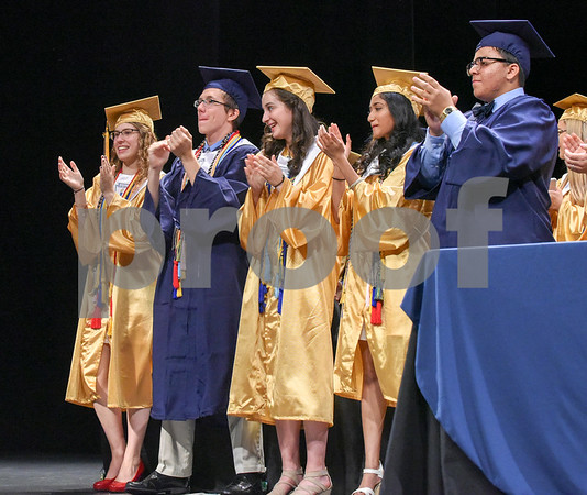 062017 Wesley Bunnell | Staff Newington High School held their 2017 commencement at the Oakdale Theatre on Tuesday evening. President of the Student Council Emily Carle, Class President Jeremy Rippel, Class Valedictorian Teodora Markova, Class Salutatorian Ariya Jacob and class essayist Eddie Cruz.