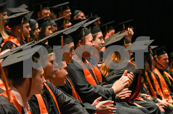 062117 Wesley Bunnell | Staff Terryville High School held their Class of 2017 Commencement on Wednesday evening. Graduates sit on stage at the beginning of the ceremony.
