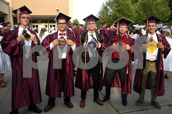 6/21/2017 Mike Orazzi | Staff Bristol Central High graduates Brendan Varnum, Cody Runkle, Hadyn Sundgren, Ben Funk and Simon Andrew during Wednesday night's ceremony in Bristol.