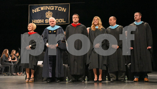 062017 Wesley Bunnell | Staff Newington High School held their 2017 commencement at the Oakdale Theatre on Tuesday evening. Newington Board of Education Chair Nancy Petronio, Superintendent Dr. William Collins, retiring principal of Newingthon High School Jim Wenker, Associate Principal Terra Tigno, Assistant Principal Enzo Zocco & Assistant Principal Sean Colley.