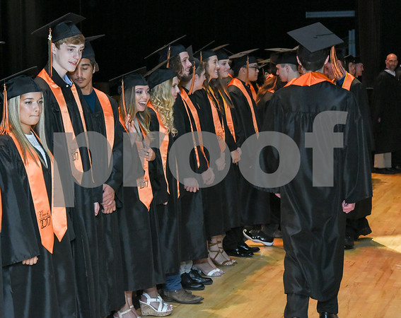 062117 Wesley Bunnell | Staff Terryville High School held their Class of 2017 Commencement on Wednesday evening. Graduates walk onstage.