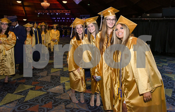 062017 Wesley Bunnell | Staff Newington High School held their 2017 commencement at the Oakdale Theatre on Tuesday evening. Students que in the lobby prior to the start of the ceremony.